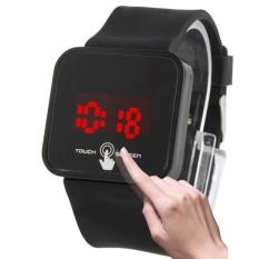 Stylish Unisex Capacitive Layar Sentuh Elektronik LED Watch Jam Tangan Arloji dengan Silicone Band (Hitam)-Intl