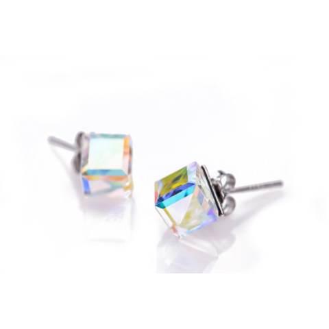 Swarovski Cube Crystals Stud Earrings