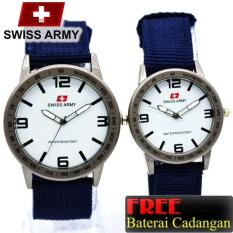 Swiss Army Analog - Jam Tangan Couple Casual Murah - Tali Canvas - Waterresistant