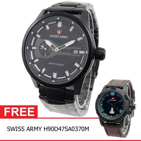 Swiss Army BOGOF H230D48SA7415MHTMP Crhono Second Crhono Second Jam Tangan Pria Stainless Steel Back ( Hitam
