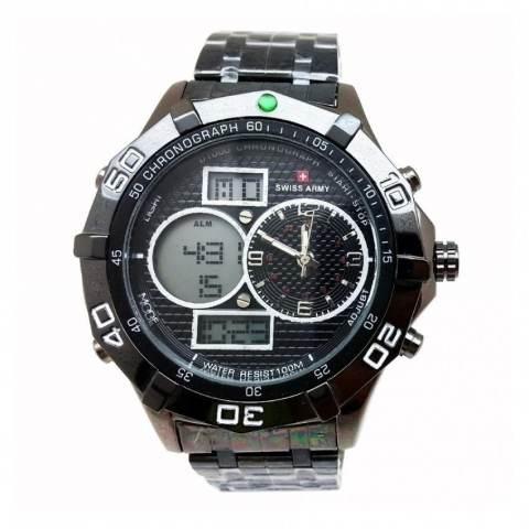 Swiss Army Digital Combo - Jam Tangan Pria - Black Stainless - Dial Hitam - SA