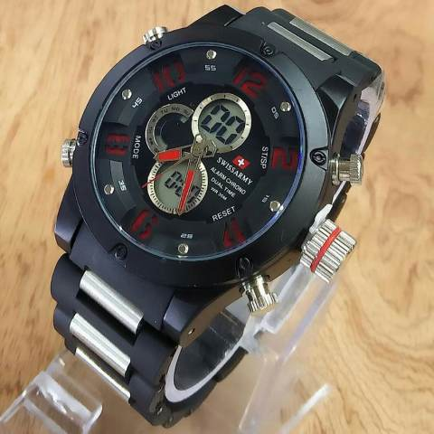 Swiss Army Digital- Jam Tangan Pria - Black Stainless - jarum merah - SA X001616