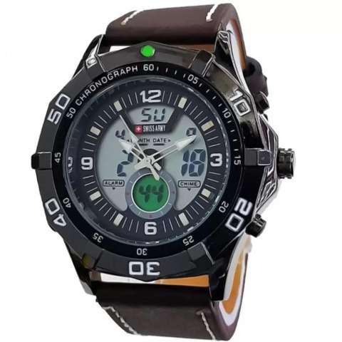 Swiss Army Dual Time Jam Tangan Pria - Letaher Strap - Coklat SA 7865 CH
