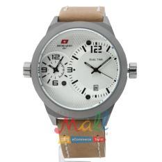Swiss Army HCC-3068G Tali Kulit Coklat – Fitur Dua Waktu – Dial Putih