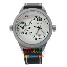 Swiss Army HCC-3068G Tali Kulit Hitam – Fitur Dua Waktu – Dial Putih