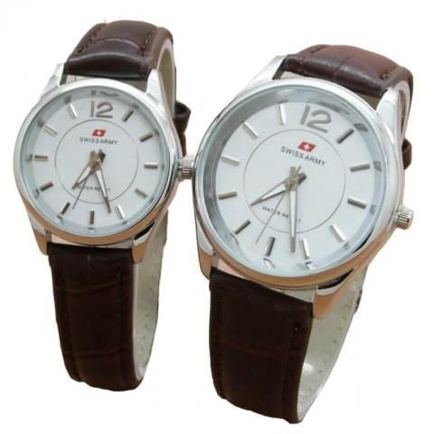 ... Swiss Army Jam Tangan Couple Strap Kulit Coklat Dial Putih SA 1989