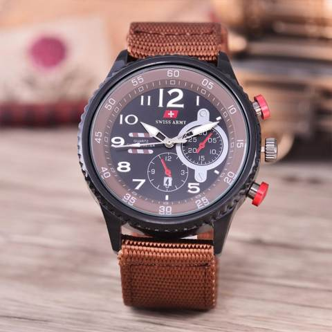 Swiss Army - Jam Tangan Pria - Body Black - Black Dial - Brown Nylon Strap