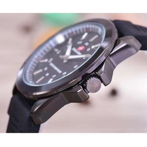 Swiss Army - Jam Tangan Pria - Body Black - Black Dial - Rubber Band - SA-RK-B-3821Q- Htm/Htm-Black Rubber