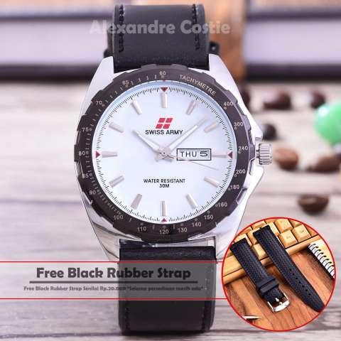 Harga Swiss Army Jam Tangan Pria Body Silver White Dial Black Leather Strap Sa 5579 Sw Harga Rp 69.000