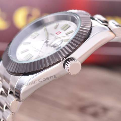 Swiss Army Jam Tangan Pria - Body Silver - White Dial - SA-RT-