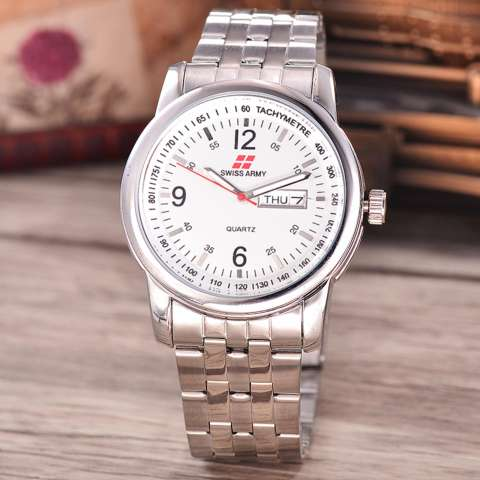 Swiss Army - Jam Tangan Pria - Body Silver - White Dial - Stainless Steel Band - SA-RT-5010-SW-TH