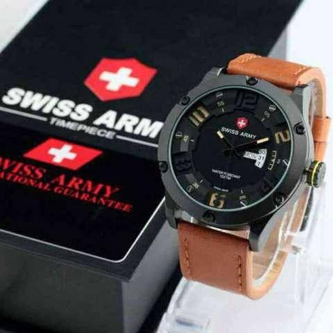 Swiss Army - Jam Tangan Pria Original - Strap Kulit - hitam merah - SA 7567