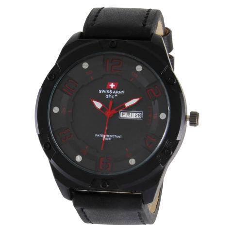 Swiss Army Jam Tangan Pria - Strap Kulit - Hitam Putih - Sa 0043 Black Red c13f2a2471