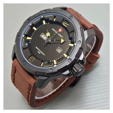 Swiss Army Jam Tangan Pria Terbaru - Leather Strap - SA 2556bo - Coklat