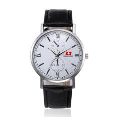 Swiss Army Original - High Quality - Jam Tangan Pria dan Wanita - Strap Kulit - Hitam Putih