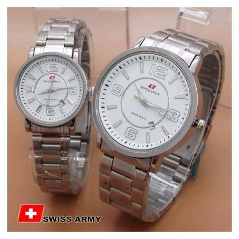Swiss Army SA0029BO Couple (White Dial Silver) Jamtangan Pria&Wanita