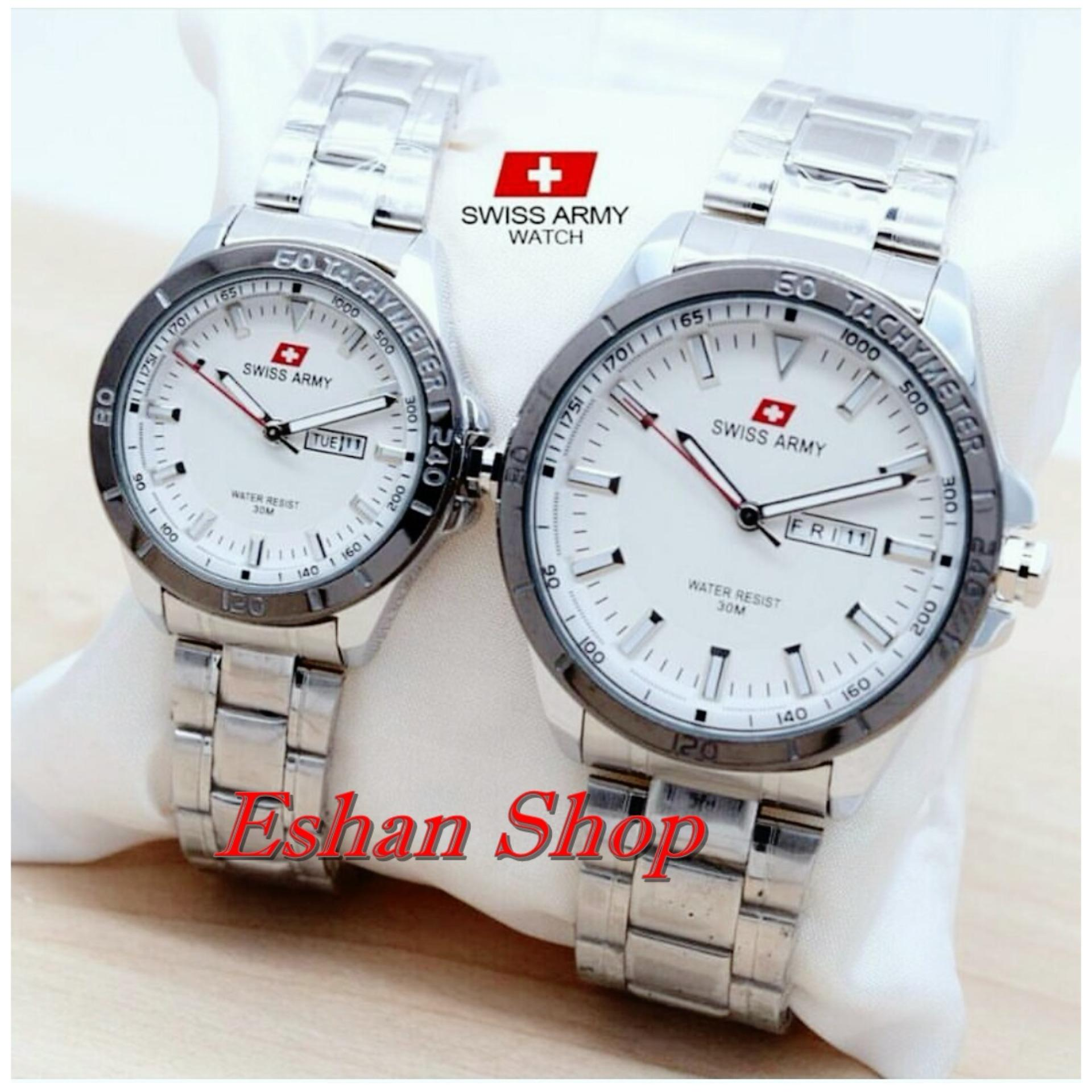 Water Resistant 50M Swiss Army SA5153FG - Jam Tangan Couple -Stainlesstell Strap - Silver
