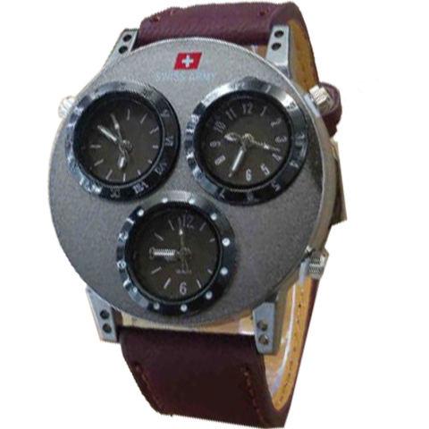 Harga Swiss Army Tiga Waktu Jam Tangan Pria Strap Kulit Cokelat Tua Sa9028hc Harga Rp 110.000