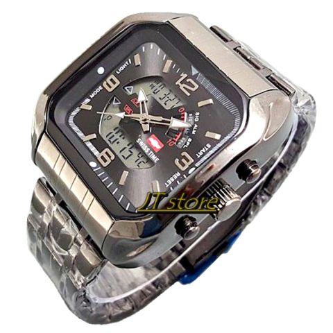 Swiss Time/ Army - Dual Time - Jam Tangan Pria - Rantai Hitam - SA 8081 jts