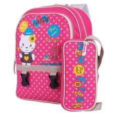 Tas Ransel Anak Perempuan Backpack Casual Sekolah SD Cewek Motif Kitty Polkadot Pink Tempat Pensil Case