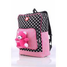 Tas Ransel Anak Sekolah SD Perempuan Backpack Girl Pink Bear Polkadot