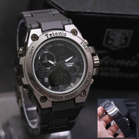 Tetonis Dual Time Jam Tangan Fashion Pria Stainless Strap TS7004