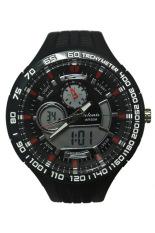Tetonis Dual Time - Jam Tangan Pria - Hitam List Putih - Rubber Strap - TS412Hp