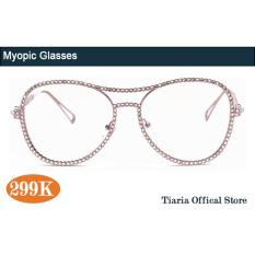 Tiaria TJ7007-C3 custom degree 1.56RI aspherical anti-radiation resin lens pink diamond frame myopic miopia glasses