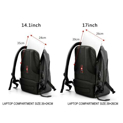 Tigernu Ransel Laptop 12 17 Inch Dengan Port Charger USB 3164 Abu Abu .