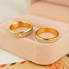 [Bisa Bayar Di Tempat] 2 Cincin + Kotak Cincin Couple Titanium Perak Emas Original CC003