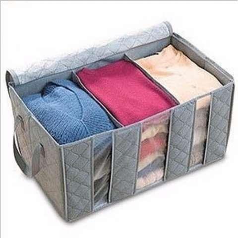 TOKO49 Tempat Baju Fiber Storage Box Bamboo Charcoal Anti Bacterial  - ABU 1