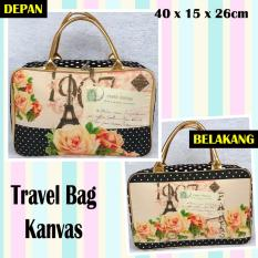 TRAVELBAGMURAH - Travel Bag Kanvas PARIS MAWAR