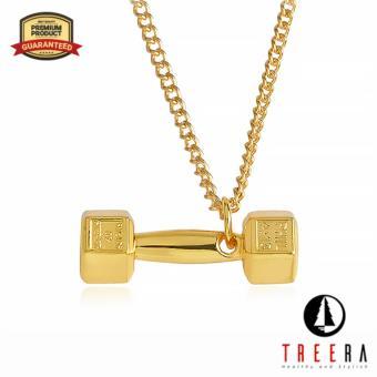 Treera Kalung Pria Wanita Titanium Stainless Barbel Gold Keren Premium
