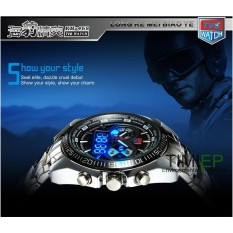 TVG Hight Quality Stainless Steel Black Mens Clock Fashion Blue Binary LED Pointer Watch Mens 30AM Waterproof Watches - intl