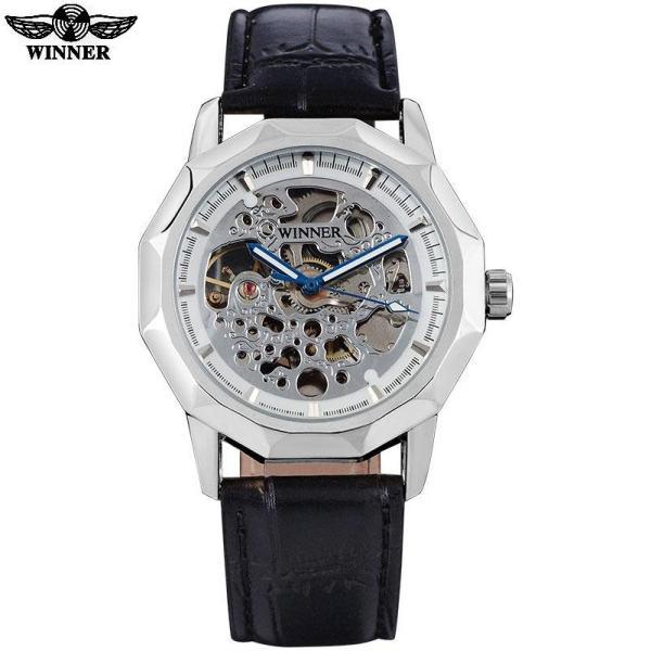 TWINNER Merek Fashion Pria Sport Jam Tangan Mekanis Strap Kulit Pria Otomatis Skeleton Kasus Emas Watches