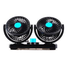 Dua kepala Mini AC pendingin ruangan kipas pendingin mobil 12 V 360 derajat berputar (hitam)