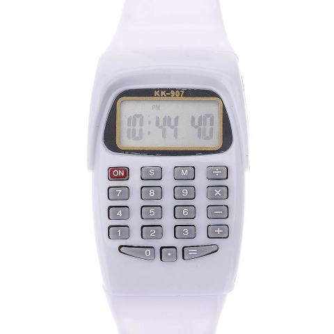 Vanker-Gaya Mewah 8-Digit Menghitung Menonton Kalkulator Digital dengan Lampu LED Watch Fungsi Baru (Putih) 4
