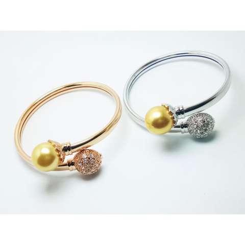 VeE Gelang Wanita Lapis Emas 18K Silver & Gold - Mata Mutiara - M9&M10