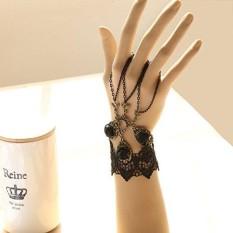 Veecome Manik Hitam Retro Renda Budak Gelang dengan Lingkaran Gaya Gothic Kostum Perhiasan #1-Internasional