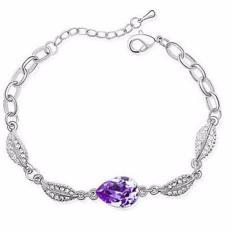 Vienna Linz Gelang Wanita Acacia Leaves Crystal Bracelet 925 Sterling Silver Fashion Aksesories Feminim Trendy Design - Ungu