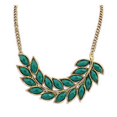 Vienna Linz Kalung Wanita Klorofill Korea Vintage Rhinestone Pearl Necklace Daun Hijau Gold Fashion Pesta Women
