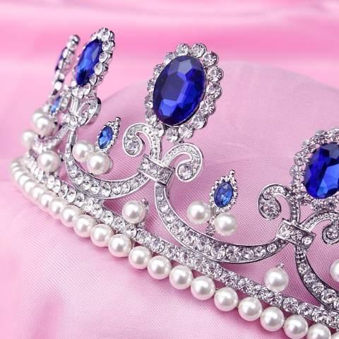 Vintage Biru Berlian Imitasi Pengantin Tiara Bando Baroque Mahkota Ratu Putri Bulang Pearl Rambut Perhiasan Aksesoris