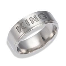 Vishinemall-1 PC King Queen Stainless Steel Couple Ring Silver Kemewahan Menawan Perhiasan Hadiah-Intl