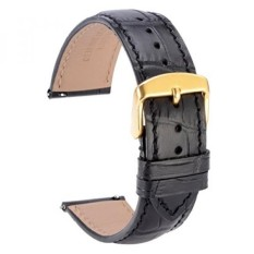 WOCCI Quick Release Watch Bands,Replace 18mm Black Alligator Leather Watch Strap with Gold Pins Buckle - intl