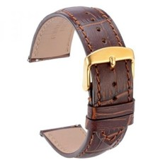WOCCI Quick Release Watch Bands,Replace 20mm Brown Alligator Leather Watch Strap with Gold Pins Buckle - intl