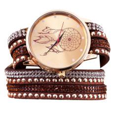 Wanita Kristal Rivet Gelang QUARTZ Dikepang Berliku-liku Wrap Wrist Watch Brown