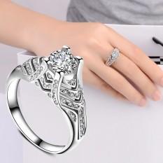 Wanita Fashion Perhiasan Perak Putih Zircon Cincin Kawin Ukuran 10-Intl