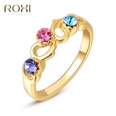 Wanita Mewah Barat Gold Jual Tren Warna Tiga Berlian Cincin Retro Perhiasan Sederhana Zirkon Lingkaran Asli Ornamen Modis Klasik Pernikahan pertunangan Anting Kado Kualitas Terbaik Perhiasan-Internasional