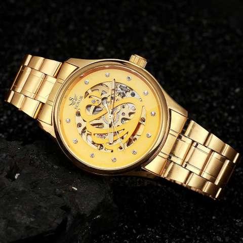 YJJZB SEWOR Brand Fashion Business Luxury Mekanik Otomatis Skeleton Tangan Jam Tangan Watch Gold Luxury Wrist Watch Silver Full Steel (emas) 4