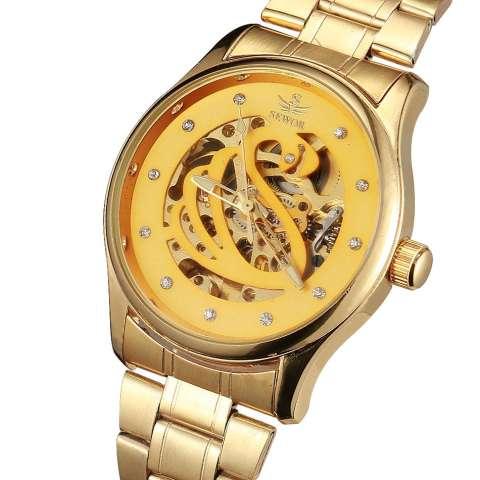 YJJZB SEWOR Brand Fashion Business Luxury Mekanik Otomatis Skeleton Tangan Jam Tangan Watch Gold Luxury Wrist Watch Silver Full Steel (emas) 1